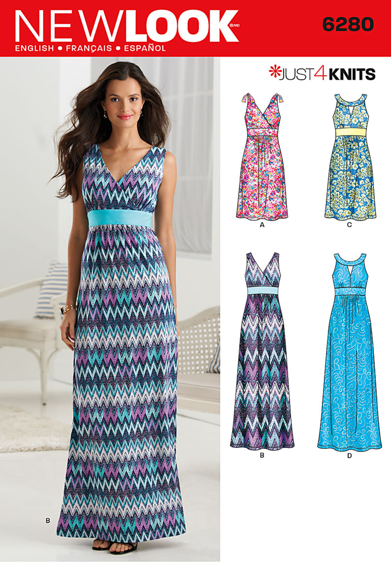 6280 New Look Pattern Misses Knit Dress in Two Lengths with Bodice ...