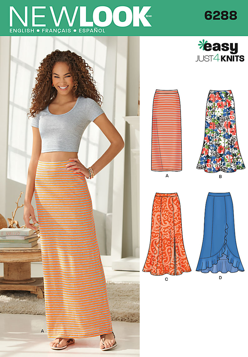 6288 New Look Pattern Misses Pull On Knit Skirts