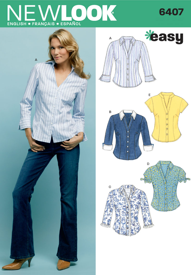 6407 new look pattern misses shirts for Pattern shirts for women
