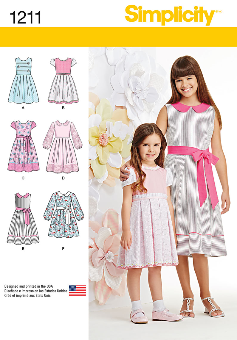 1211 Simplicity Pattern Child S And Girls Dress In Two Lengths