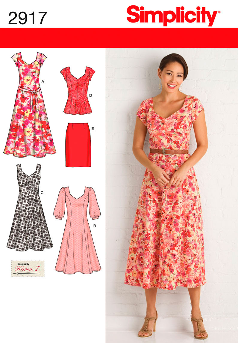 510b6421635 2917 Simplicity Pattern Misses and Plus Size Dresses Tunic Skirt and Tie  Belt
