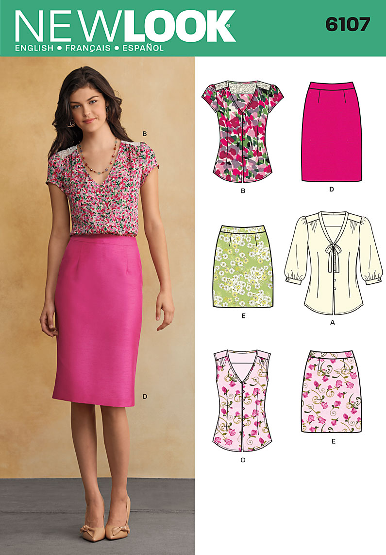 6107 New Look Pattern Misses Skirt and Blouse