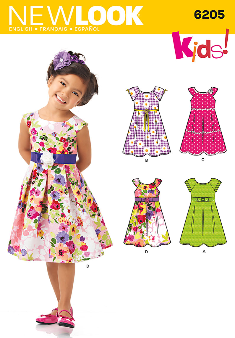 6205 New Look Pattern Girl s Dress with Trim and Sleeve Variations
