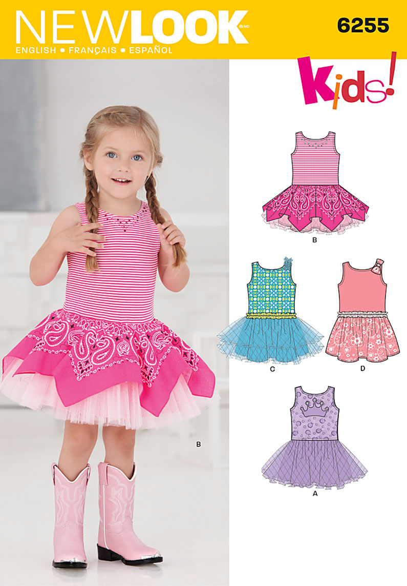 6255 New Look Pattern Toddlers Dress with Knit Bodice
