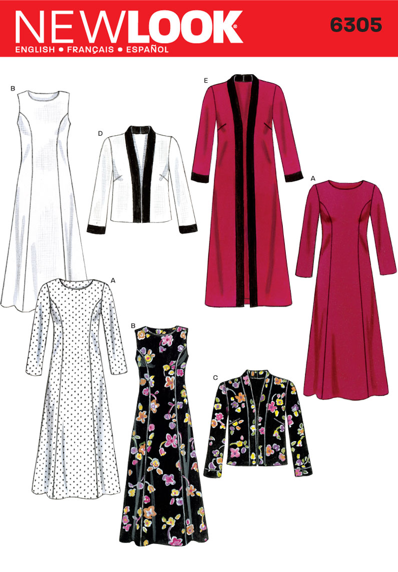 6305 New Look Pattern Misses Dress and Long or Short Jacket