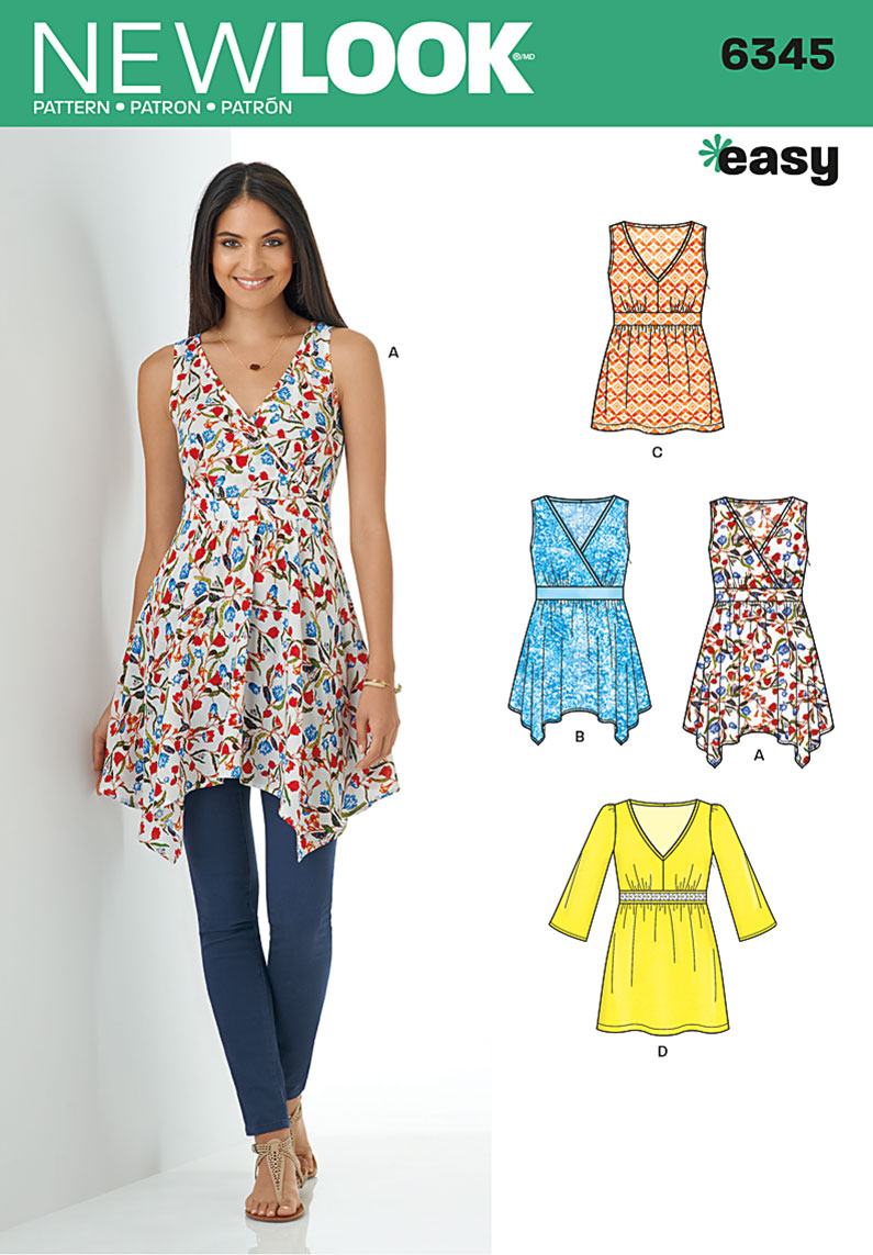 6345 New Look Pattern Ladies Tops with Hem and Sleeve Variations