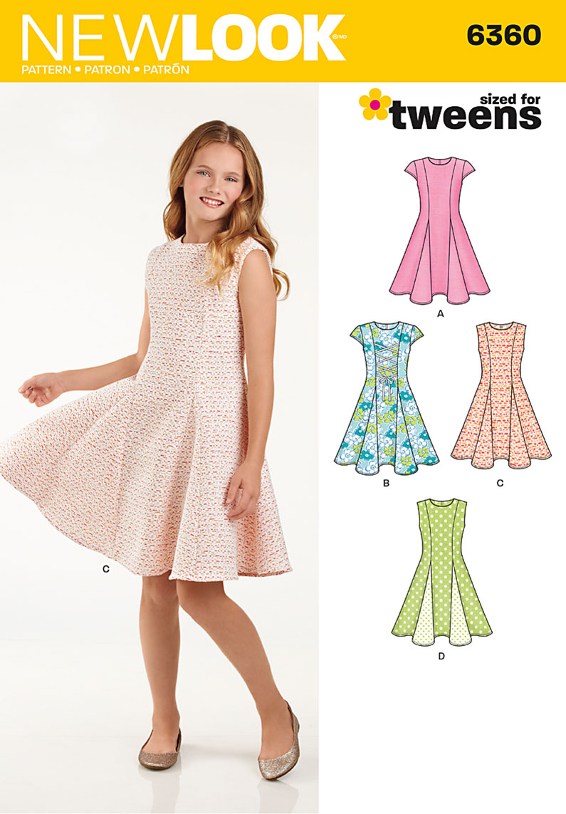 6360 New Look Pattern Girls Dresses