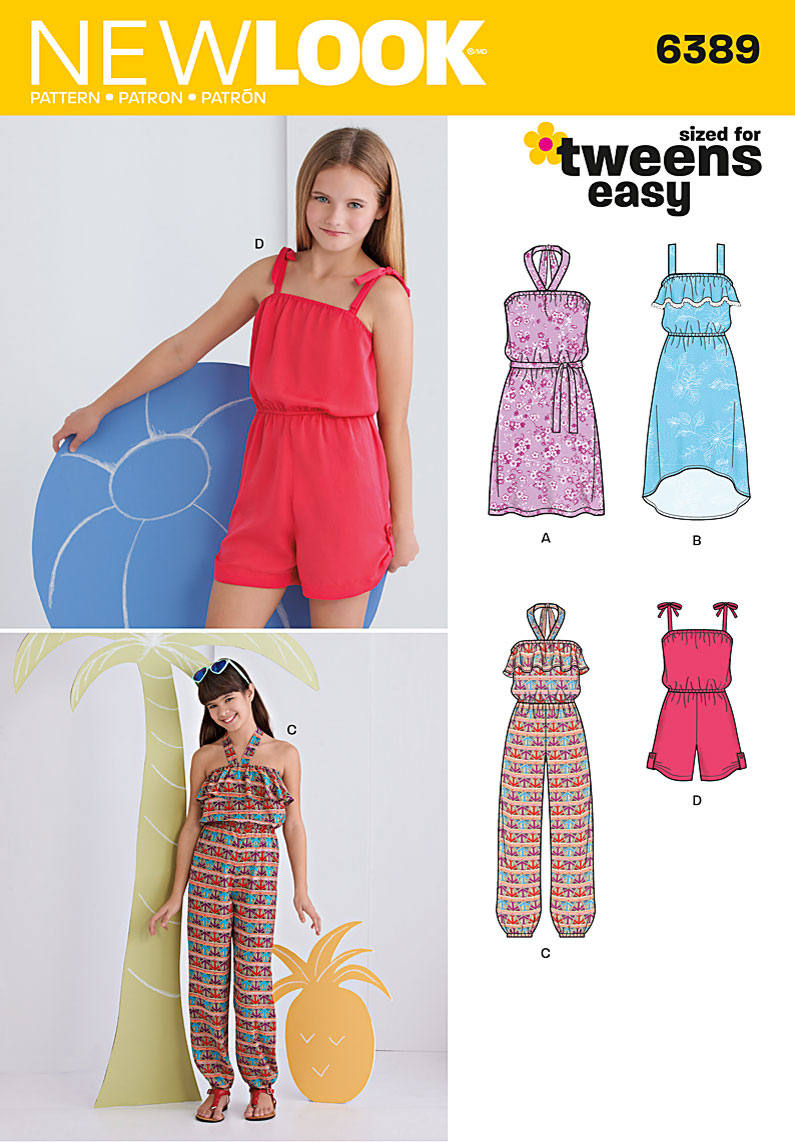 6389 New Look Pattern Girls Easy Jumpsuit Romper and Dresses