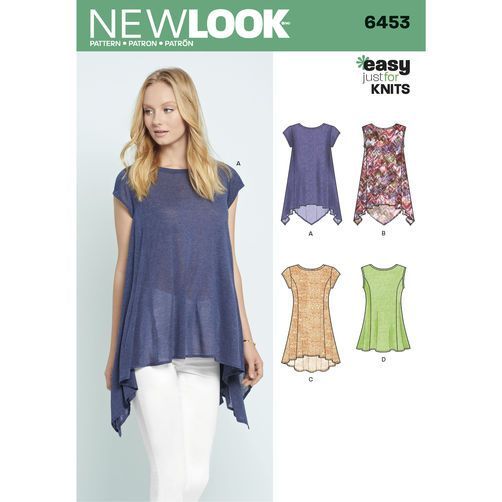 6453 New Look Pattern Misses Easy Knit Tops