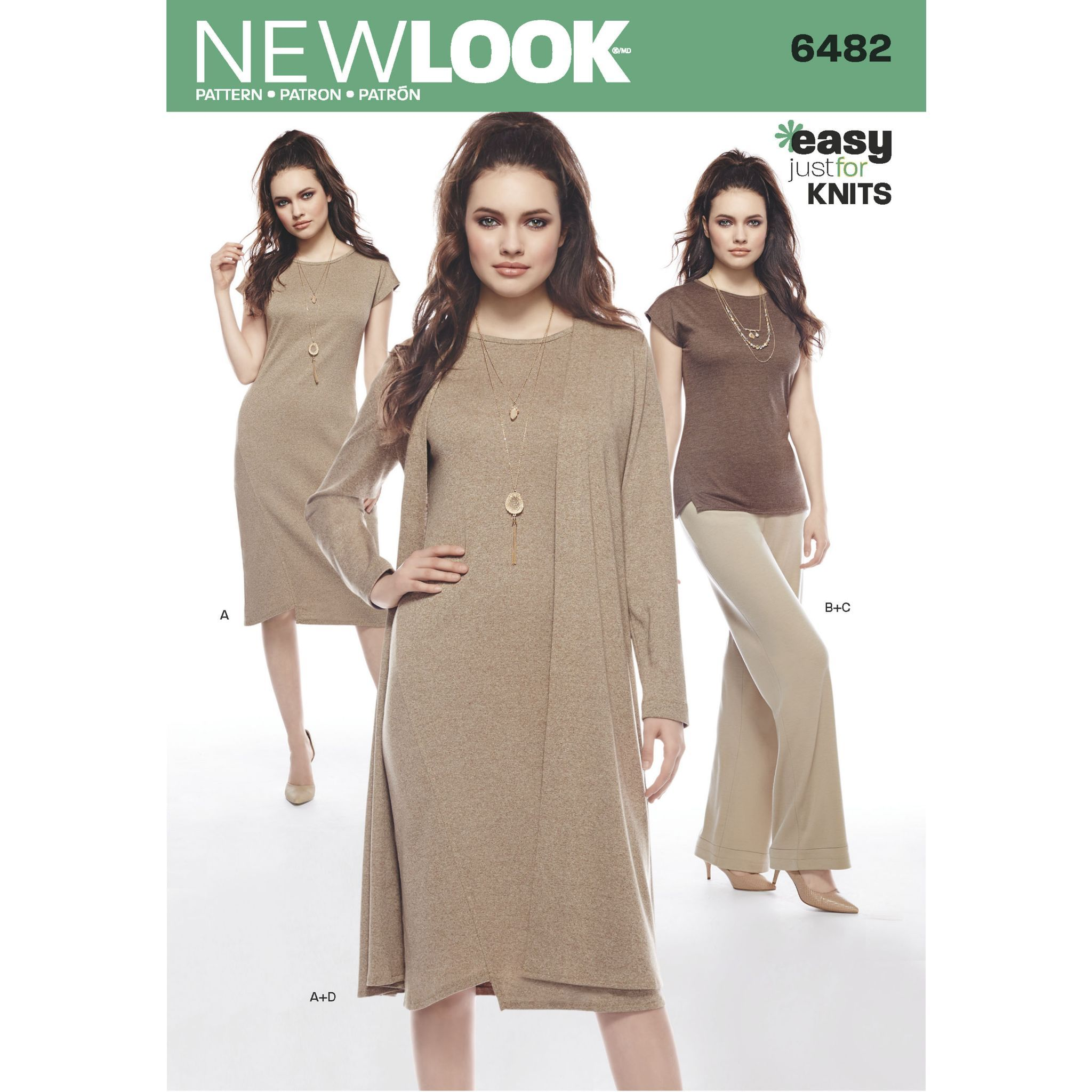 6482 New Look Pattern Misses Knit Dress Tunic Trousers and Duster Coat