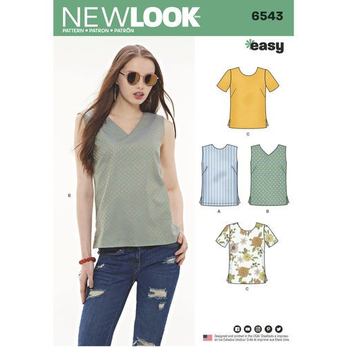6543 New Look Pattern Misses Easy to Sew Tops