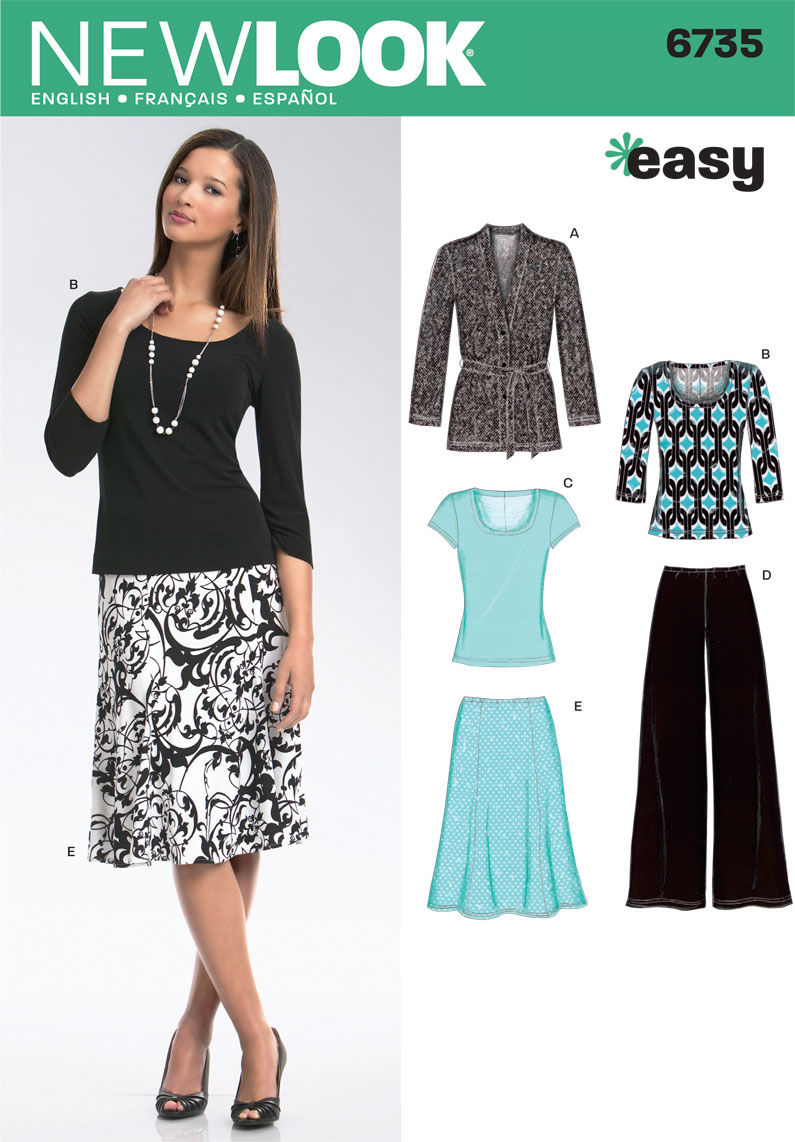 6735 New Look Pattern Misses Knit Cardigan Tops Trousers and Skirt