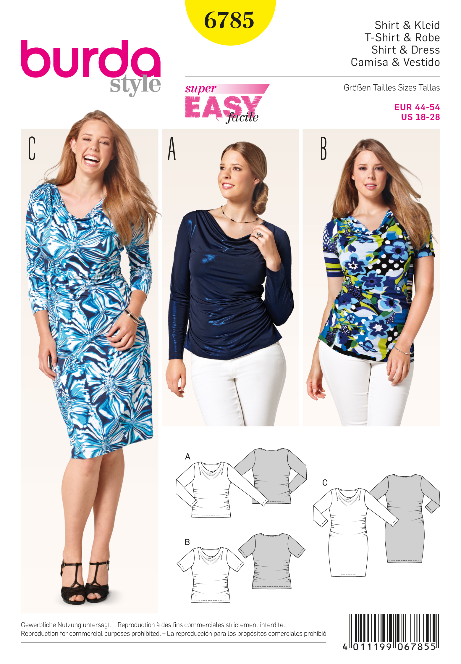 6785 Burda Pattern Misses and Plus Size Knit Dress and Top with ...