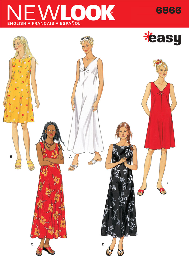 01d8fe53349 6866 New Look Pattern Misses Loose Fitting Summer Day Dress or Maxi Dress