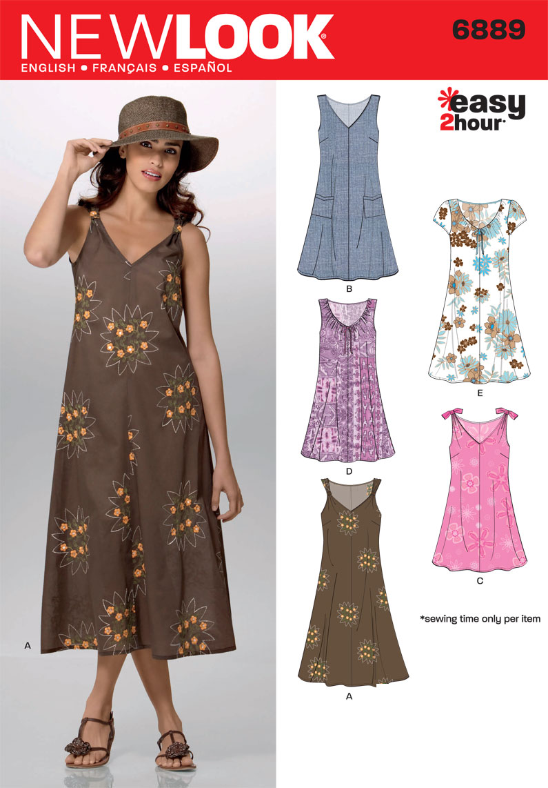 6889 New Look Pattern Misses Easy Two Hour Pullover Dress