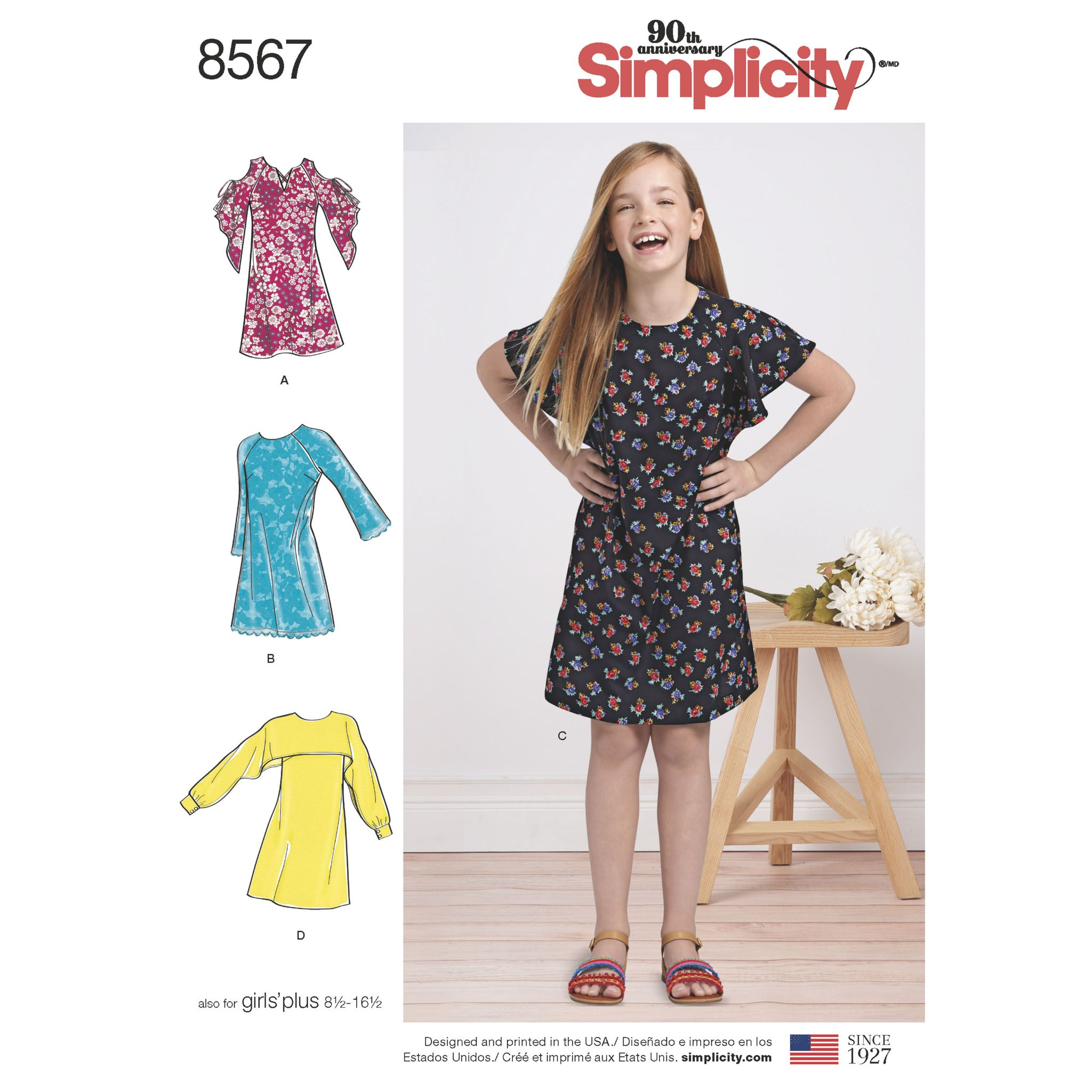 8567 Simplicity Pattern Girls Dresses with Plus Size Girls Option