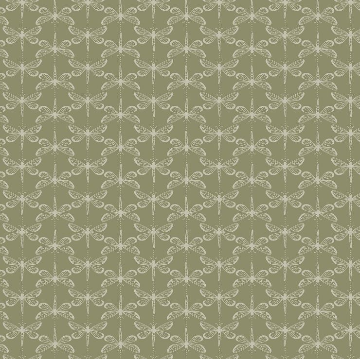 LEWIS /& IRENE THE WATER MEADOW GREEN DRAGONFLY 100/% COTTON A322.1