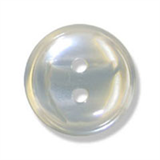 Polyester Striped Button - Grey and White - 12mm